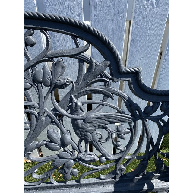 Antique French Black Iron Bench With Birds and Nymph For Sale - Image 4 of 13