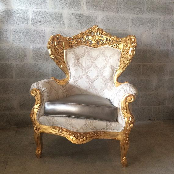 Antique unique Rococo Italian style chair. The frame is 100% handmade of massive wood and is very professionally decorated...