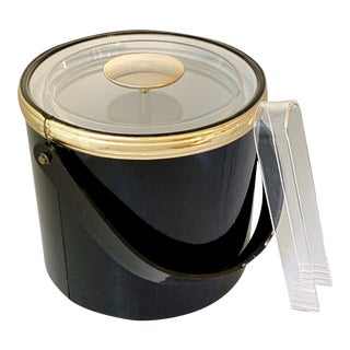Mid Century Georges Briard Glossy Black Vinyl and Lucite Ice Bucket With Tongs For Sale