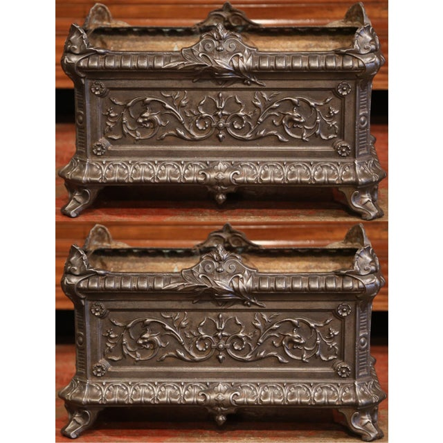 19th Century French Polished Iron Outdoor Jardinières With Raised Decors - a Pair For Sale - Image 11 of 11