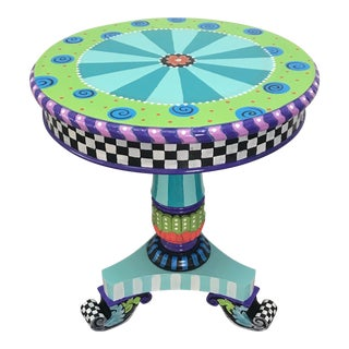 Funky Early 20th C. Antique Hand Painted Pedestal Table For Sale