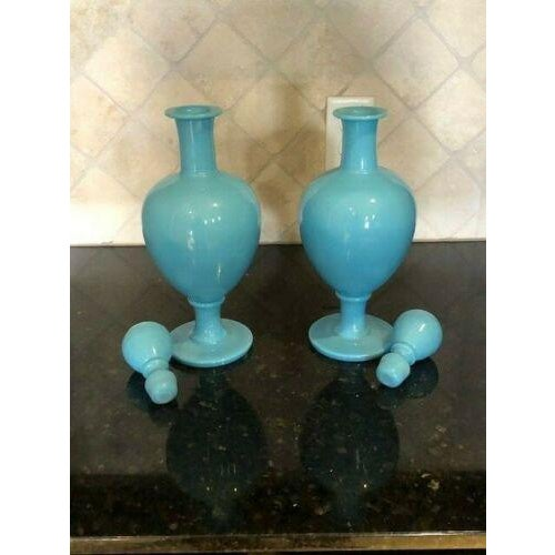 Victorian 19th Century French Blue Opaline Large Decanters W/ Stoppers - a Pair For Sale - Image 3 of 13