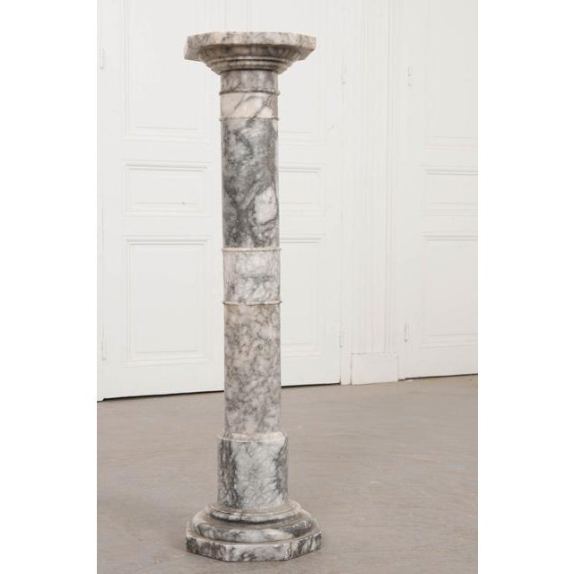 Late 19th Century French 19th Century Grey-And-White Marble Pedestal For Sale - Image 5 of 11