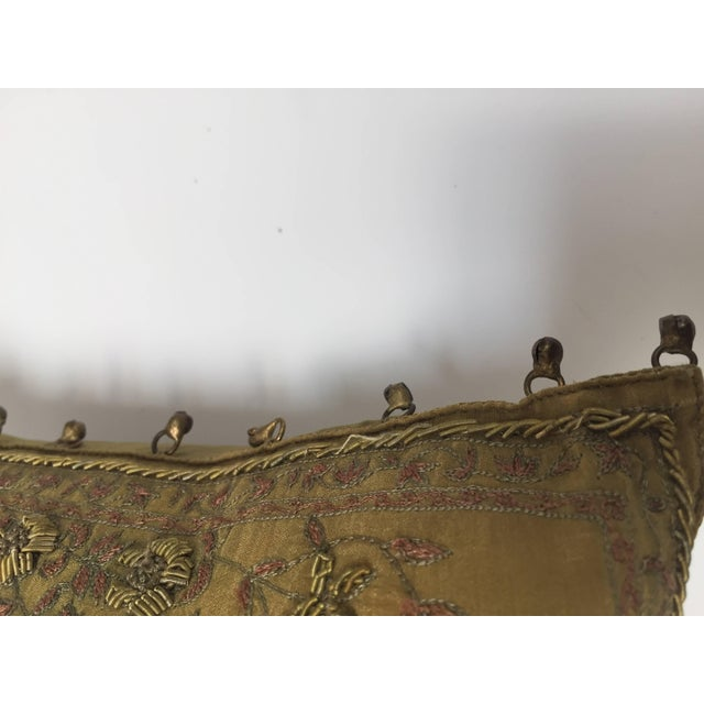Mid 20th Century Mid Century Silk Throw Pillow Embroidered With Raised Metallic Embroidery For Sale - Image 5 of 9