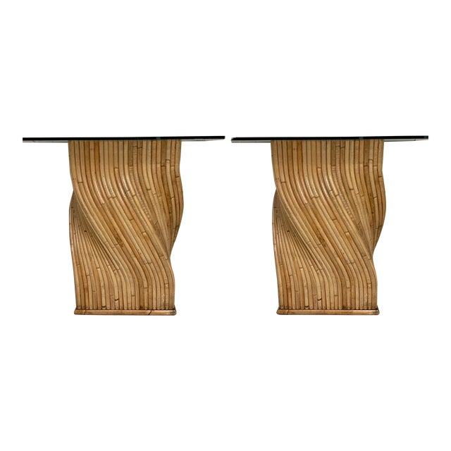 Pair of Pencil Bamboo Modern Console Tables Att. To Crespi For Sale