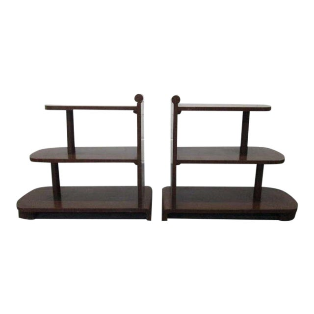 Pair of Art Deco Streamline Three Tier End Tables For Sale