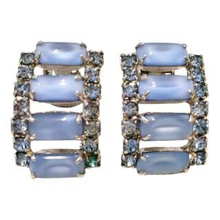 60's Silver Blue Glass Moonstone & Swarovski Crystal Earrings For Sale