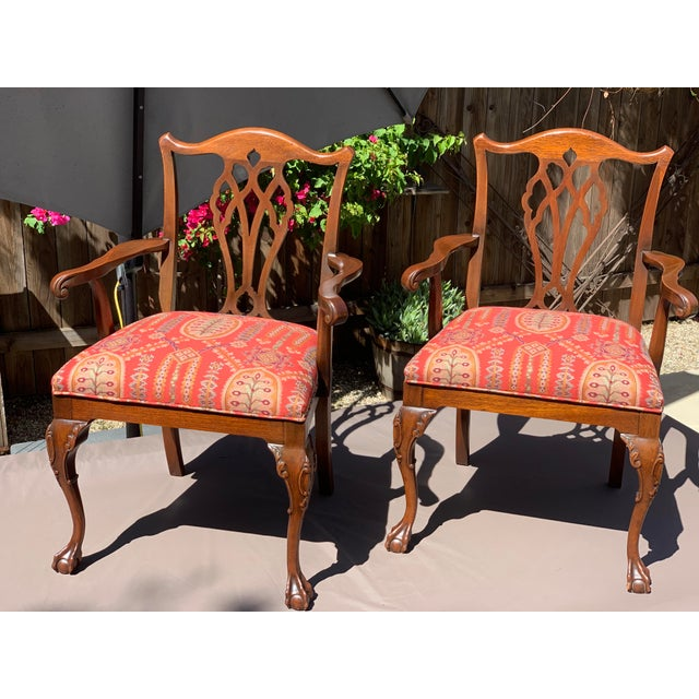 1950s Vintage Mahogany Chippendale Designer Arm Chairs- A Pair For Sale - Image 10 of 11