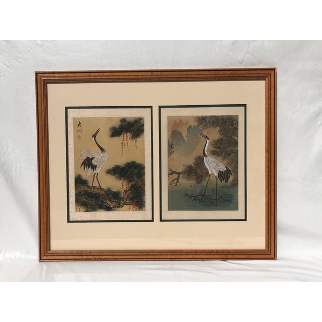 Green Asian Cranes Watercolor on Silk For Sale - Image 8 of 8