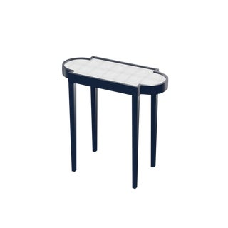 Club Navy With White Painted Raffia Oomph Tini Table II