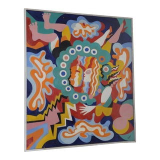 1950s Mid-Modern Abstract Painting by Larsen For Sale