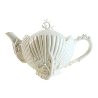 Hollywood Regency White Ceramic Seashell Coral Tea Pot For Sale