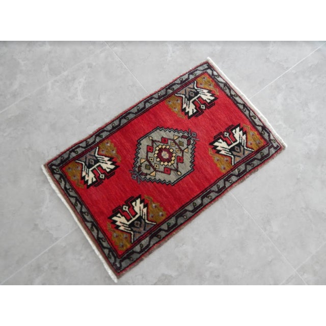 Traditional Small Turkish Accent Rug For Sale - Image 3 of 8