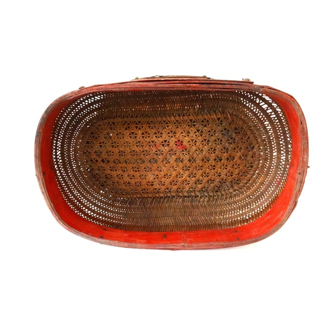Antique Red & Brown Chinese Wedding Basket For Sale In New York - Image 6 of 7