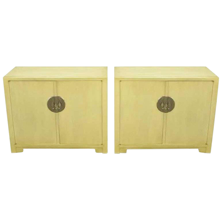 Beau Pair Baker Far East Collection Ivory Glazed Mahogany Cabinets