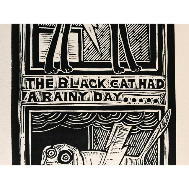"Expressionism Original ""Parable #2"" Black Cat, White Dog Hand Pulled Linocut Print For Sale - Image 3 of 12"