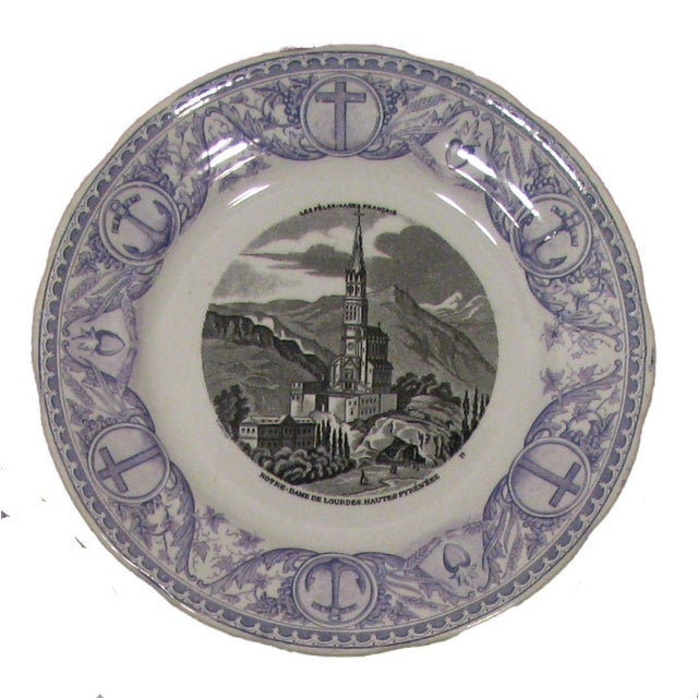 Belgian Antique French Transferware Pilgrimmage Plates - Set of 4 For Sale - Image 3 of 6