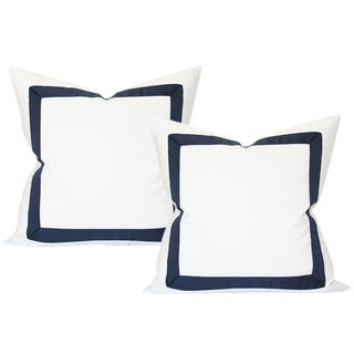 Solid White With Navy Ribbon Border Pillow Covers - a Pair