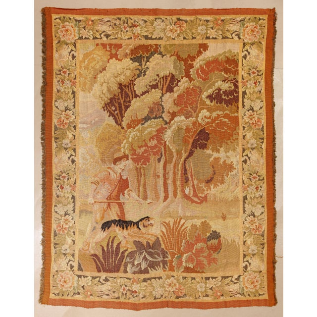 """Antique Old World Hunting Tapestry, Circa 1900, 4'10"""" X 6'5"""" For Sale - Image 11 of 11"""