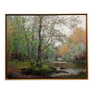Jean Constant Pape -River in the Forest-19th Century French Impressionist Oil Painting For Sale