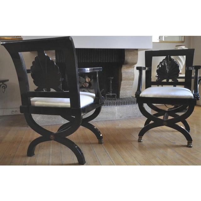 Black Maison Jansen Chicest Black Neoclassic Exceptional Pair of Armchairs For Sale - Image 8 of 8
