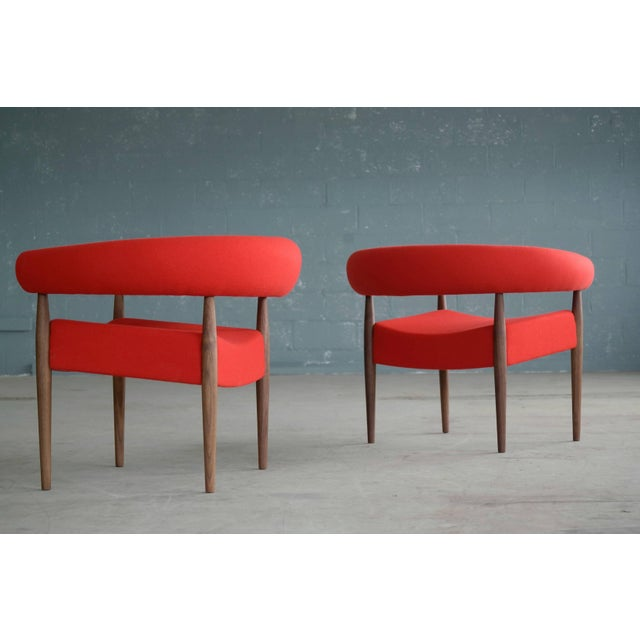 Contemporary Pair of Nanna Ditzel Ring Chairs in Walnut and Wool for GETAMA For Sale - Image 3 of 10