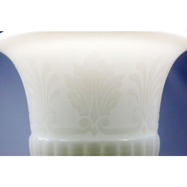 Traditional Vintage White Milk Glass Embossed Fleur De Lis Urns - a Pair For Sale - Image 3 of 10