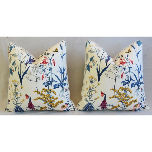 "Floral Wildflower Botanical Cotton & Linen Feather/Down Pillows 24"" Square - Pair For Sale In Los Angeles - Image 6 of 13"