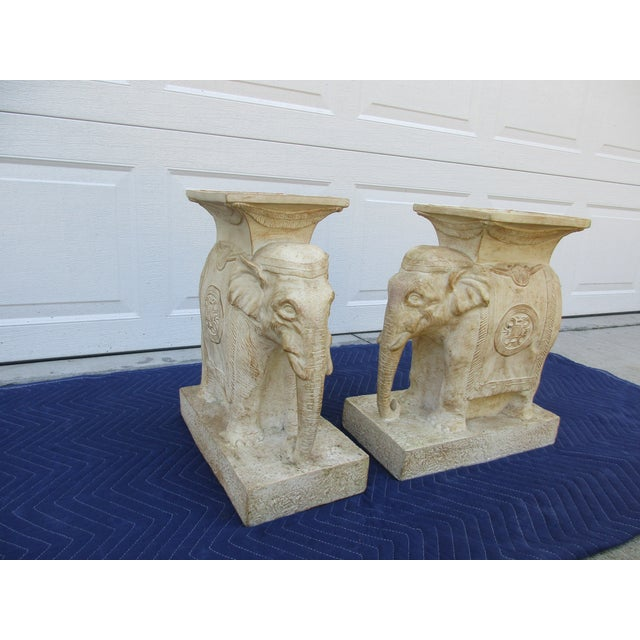 20th Century Boho Chic Elephant Pedestals - a Pair For Sale - Image 10 of 13
