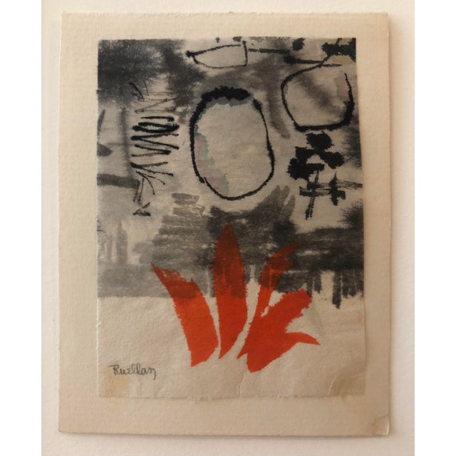 Watercolor Mid-Century Modern Abstract by Andree Ruellan 1966 For Sale - Image 7 of 7