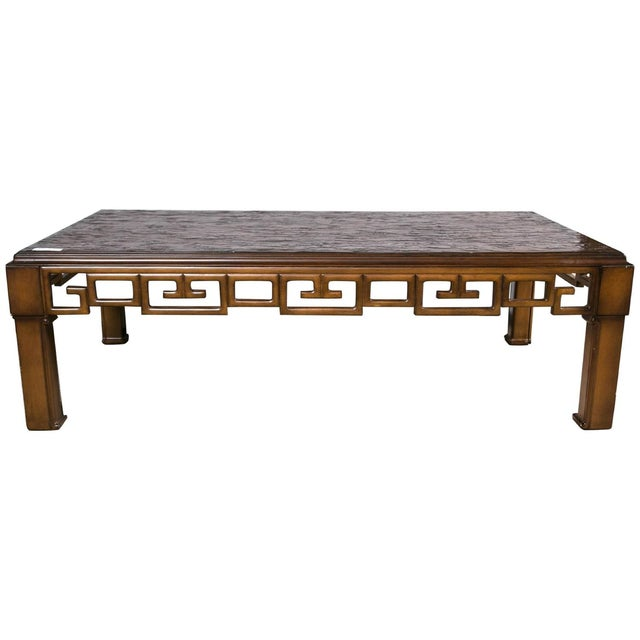 Gold Asian Style and Greek Key Combo Cocktail Table For Sale - Image 8 of 8