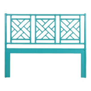 Chippendale Headboard Queen - Turquoise For Sale