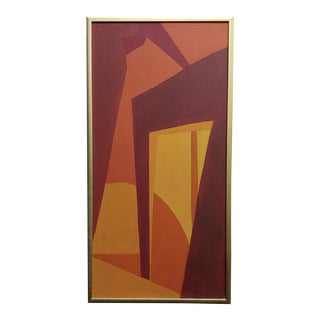 1960s Original Hard Edge Abstract -1960s Mid-Century Oil Painting For Sale