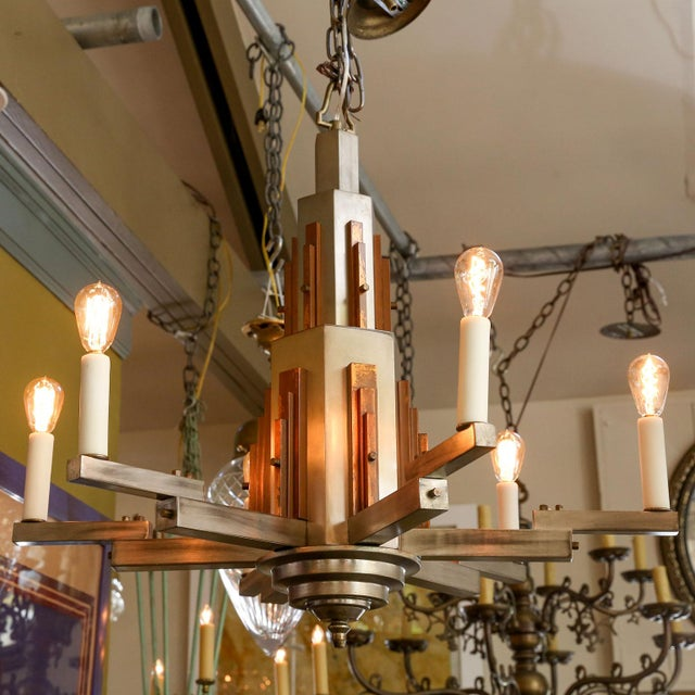 Wonderful Bold Deco Chandelier For Sale - Image 10 of 13