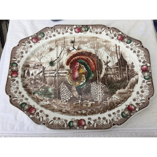 English Transferware Turkey Platter For Sale - Image 10 of 11
