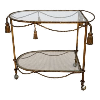 1960s Hollywood Regency Gilt Metal Bar Cart For Sale