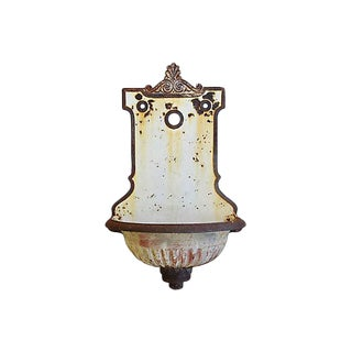 Large French Cast Iron Wall Lavabo Planter Fountain