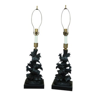 Pair of Black Forest Style Wood Carved Table Lamps For Sale