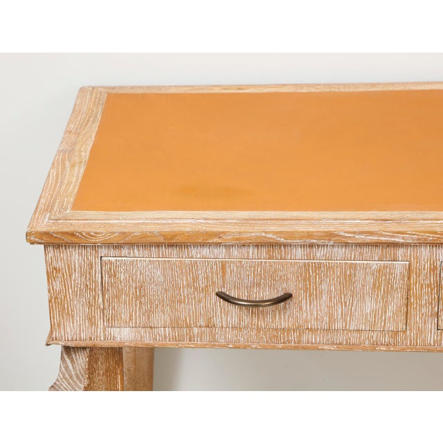 French French 1940s Cerused-Oak Leather Top Console/ Writing Desk For Sale - Image 3 of 4