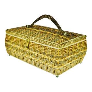 Vintage Japanese Wicker Sewing Basket For Sale