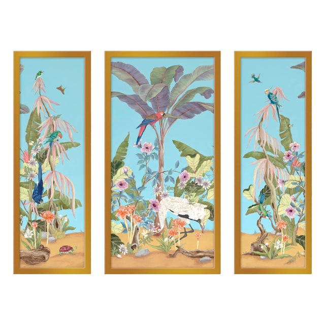 "Large ""Palm Beach Paradise"" Set of 3 Prints by Allison Cosmos, 47"" X 40"" For Sale"