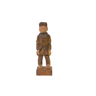 Hand-carved Wooden Trapper Figure For Sale