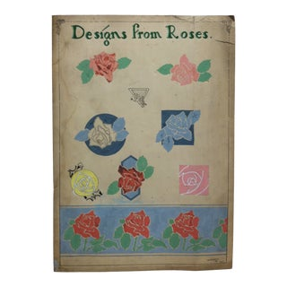 "1924 Vintage ""Designs From Roses"" Sign by Thomas Sturges Jr. For Sale"