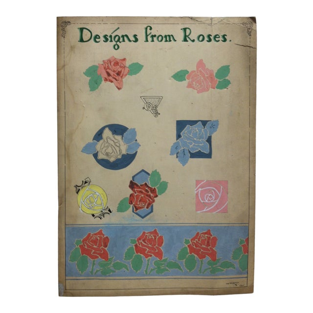 """1924 Vintage """"Designs From Roses"""" Sign by Thomas Sturges Jr. For Sale"""
