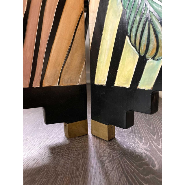 Art Deco 1980s Art Deco Hand Painted and Carved 4-Panel Room Divider For Sale - Image 3 of 6