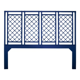 X & Diamond Headboard King - Navy Blue For Sale