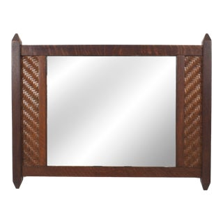 American Rustic Mission Splint Wood Wall Mirror For Sale