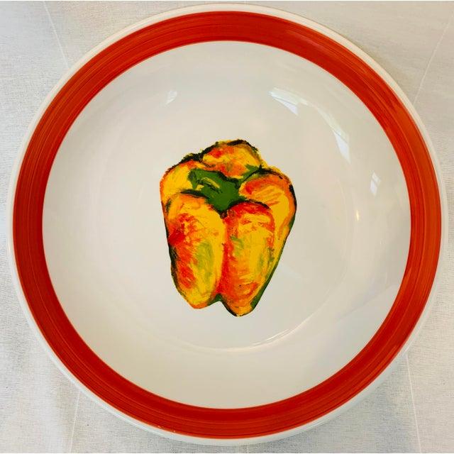 Ceramic Vintage Roma Inc Large Pepper Serving/Pasta Bowl For Sale - Image 7 of 7