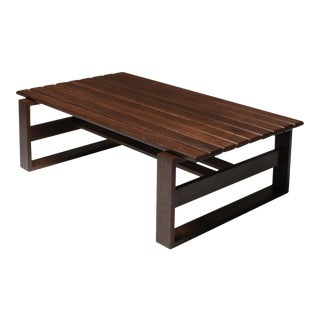 Wengé Slatted Bench or Coffee Table - 1960's For Sale