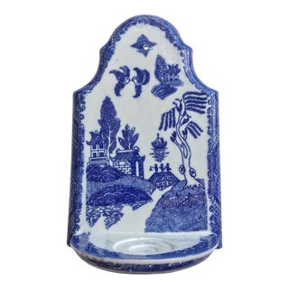 Chinese Blue Willow Porcelain Wall Candle Holder Sconce For Sale